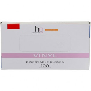 Head-Gear Vinyl Disposable Powder Free Gloves Box 100